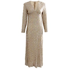 60s Jack Bryan by Dupuis Gold Evening Gown with Sequins Formal Long Dress S