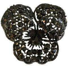 "60'S ""Japanned"" Austrian Crystal ""Butterfly"" Brooch By, Weiss"