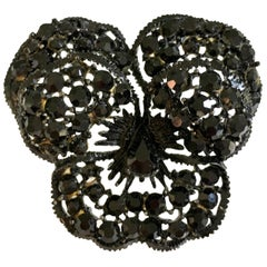 "60'S ""Japanned"" Austrian Crystal ""Butterfly"" Brooch By, Weiss"