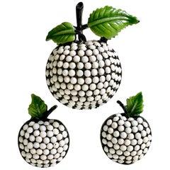 60'S Japanned Milk Glass Forbidden Fruit Brooch & Earrings S/3 By, Hollycraft