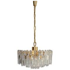 1960s J.T. Kalmar Brass and Glass Pendant Hanging Lamp for Kalmar