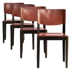 1960s Leather Dining Chairs on Wooden Feet for Matteo Grassi Set of 4