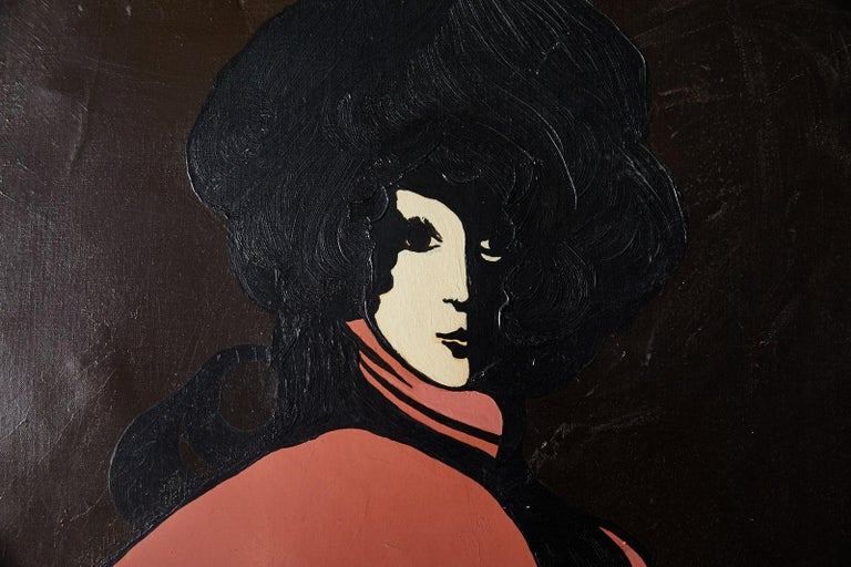 Mid-20th century Twiggy-inspired 1960s mod stylized portrait of a woman. The harlequinesque black and white figure is wearing a flowing coral blouse accented with dramatic black shadows and pops off of the chocolate brown background. The square oil