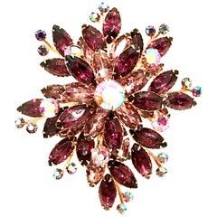 60'S Monumental Gold & Amethyst Austrian Crystal Dimensional Floral Brooch