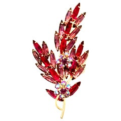 60'S Monumental Gold & Austrian Crystal Large Dimensional Floral Brooch