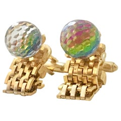 60'S Pair Of Gold Metal Mesh & Cut Crystal Ball Cuff Links By, Dante