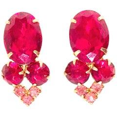 60'S Pair Of Gold & Swarovksi Crystal Ruby Earrings