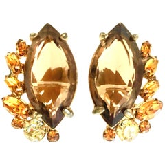 60'S Pair Of Gold & Swarovski Crystal Earrings By,  Alice Caviness