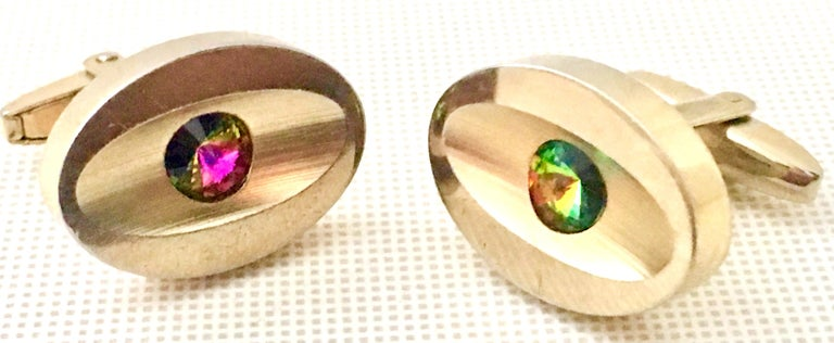 Women's or Men's 60'S Pair Of Gold & Watermelon Crystal Cuff Links By Sarah Coventry For Sale