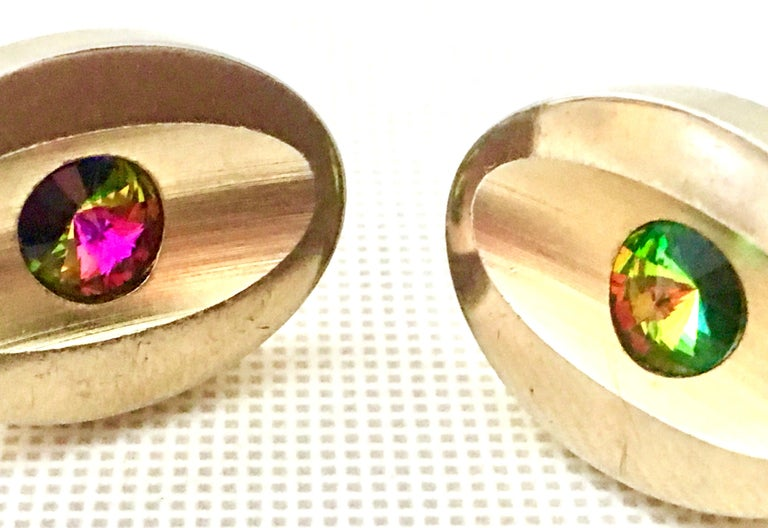 60'S Pair Of Gold & Watermelon Crystal Cuff Links By Sarah Coventry For Sale 2
