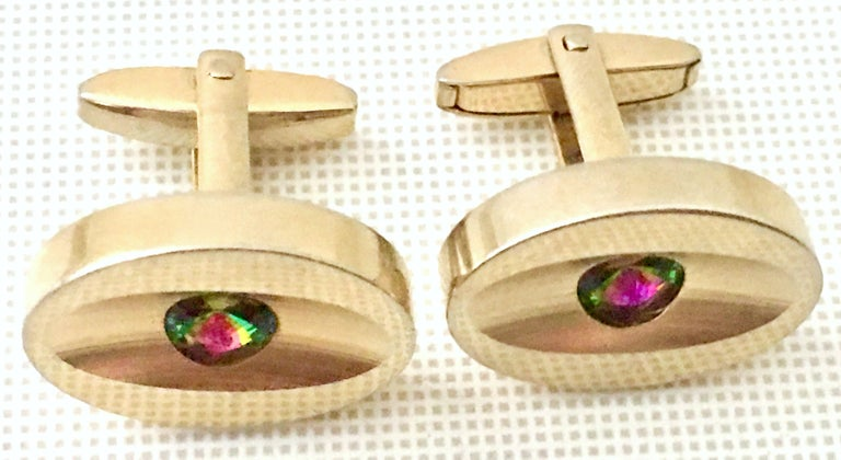 60'S Pair Of Gold & Watermelon Crystal Cuff Links By Sarah Coventry In Good Condition For Sale In West Palm Beach, FL