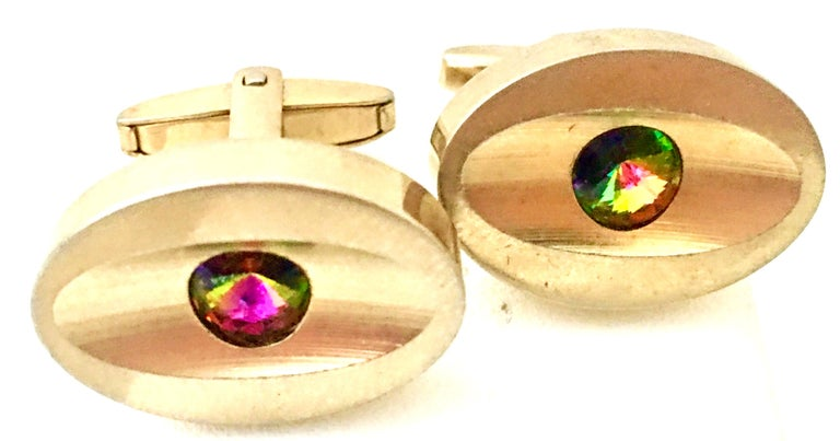 Mid-Century Modern Pair Of Abstract Evil Eye Gold Plate &
