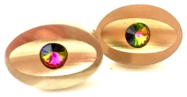 Women's or Men's 60'S Pair Of Gold & Watermelon Crystal Cufflinks By Sarah Coventryk For Sale