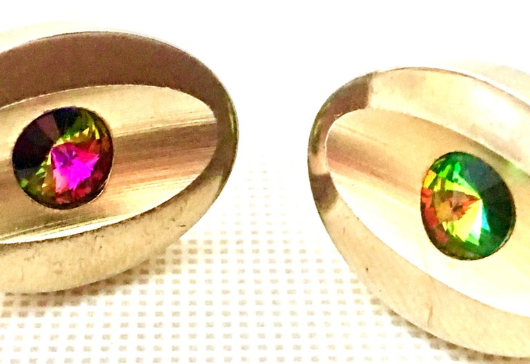 60'S Pair Of Gold & Watermelon Crystal Cufflinks By Sarah Coventryk For Sale 1