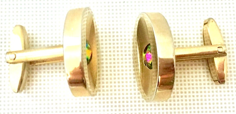 60'S Pair Of Gold & Watermelon Crystal Cufflinks By Sarah Coventryk For Sale 2