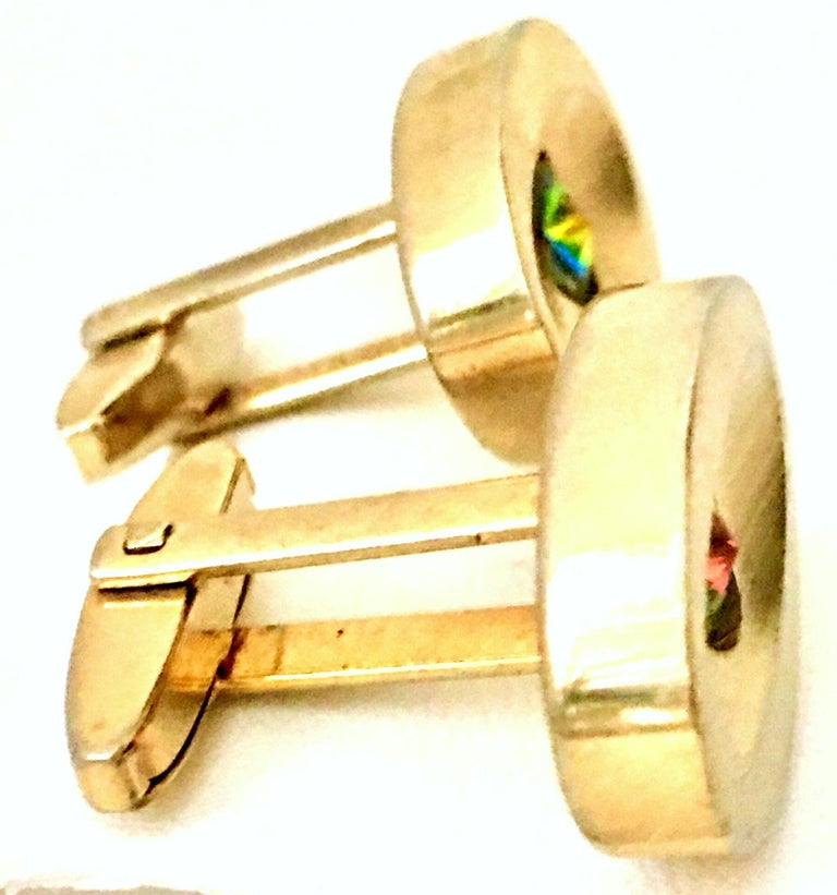 60'S Pair Of Gold & Watermelon Crystal Cufflinks By Sarah Coventryk For Sale 3