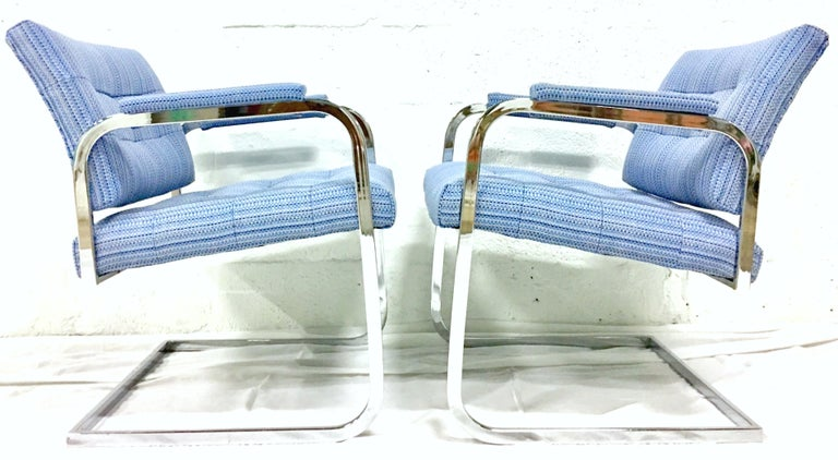 Mid-Century Modern 1960'S Pair of Milo Baughman Style Upholstered Chrome Armchairs By Patrician For Sale