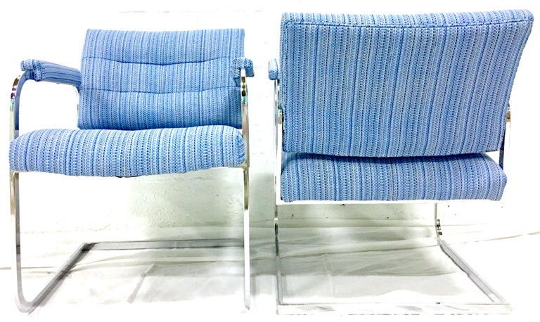 American 1960'S Pair of Milo Baughman Style Upholstered Chrome Armchairs By Patrician For Sale