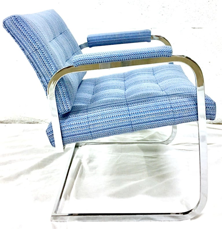 1960'S Pair of Milo Baughman Style Upholstered Chrome Armchairs By Patrician In Good Condition For Sale In West Palm Beach, FL
