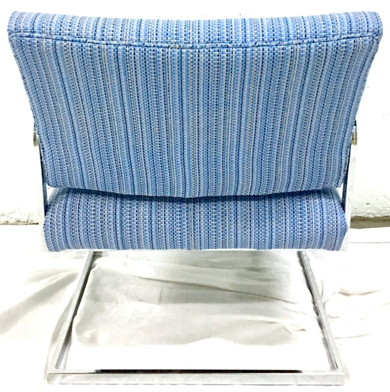 Fabric 1960'S Pair of Milo Baughman Style Upholstered Chrome Armchairs By Patrician For Sale