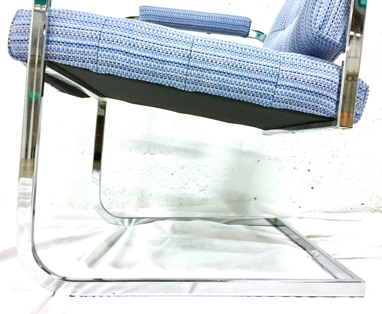 1960'S Pair of Milo Baughman Style Upholstered Chrome Armchairs By Patrician For Sale 2