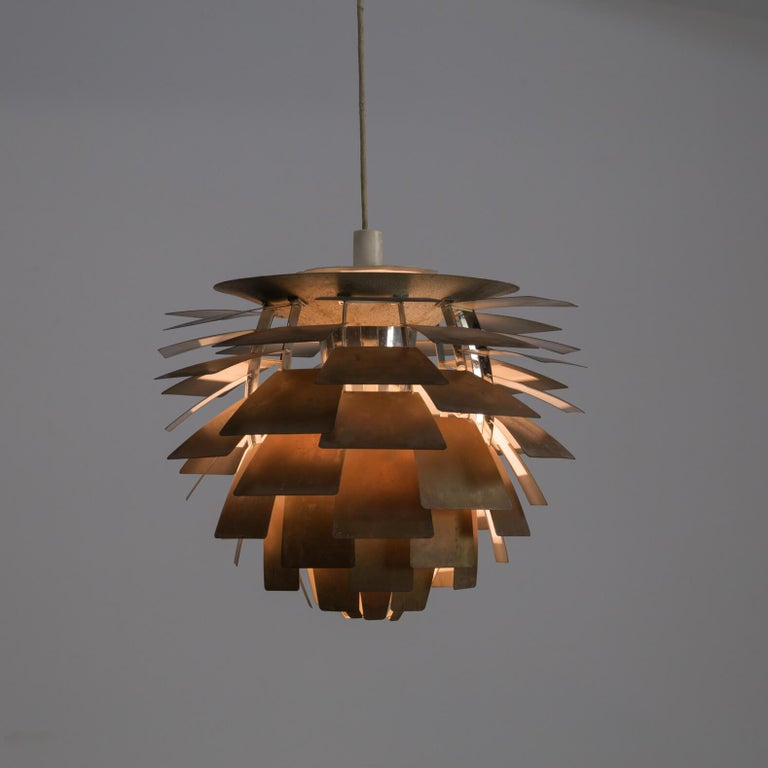 1960s Poul Henningsen 'Artichoke' pendant lamp for Louis Poulsen. Original unrestored good and working condition. Poul Henningsen has crowned his work with this design. Poul Henningsen grew up at a time when lighting still consisted of petroleum
