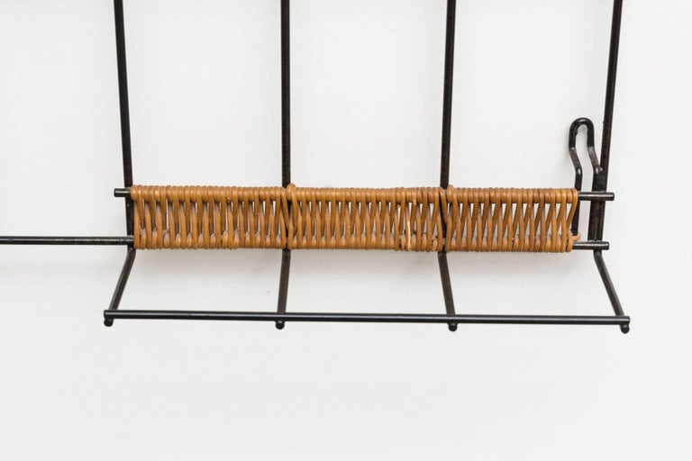Mid-Century Modern 1960s Rattan Metal Wall Mount Coat Rack For Sale