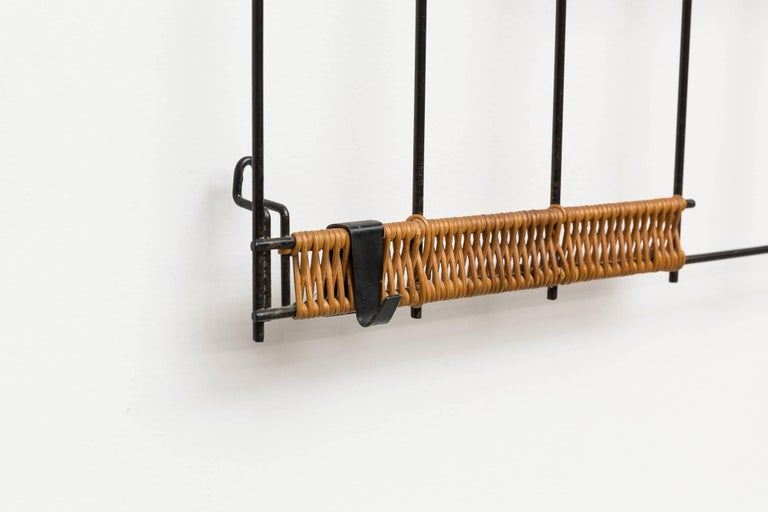 Enameled 1960s Rattan Metal Wall Mount Coat Rack For Sale