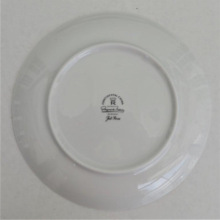 "Porcelain 60s Raymond Loewy Jet Rose ""2000"" Form for Rosenthal 12 Dessert / Salad Plates For Sale"