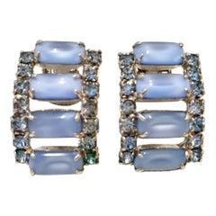60'S Silver Blue Glass Moonstone & Swarovski Crystal Earrings