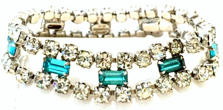 60'S Silver & Blue Sapphire Swarovski Crystal Rhineston Parure S/2 By, J Wiesner For Sale 5