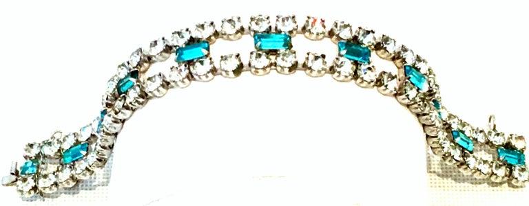 60'S Silver & Blue Sapphire Swarovski Crystal Rhineston Parure S/2 By, J Wiesner For Sale 4