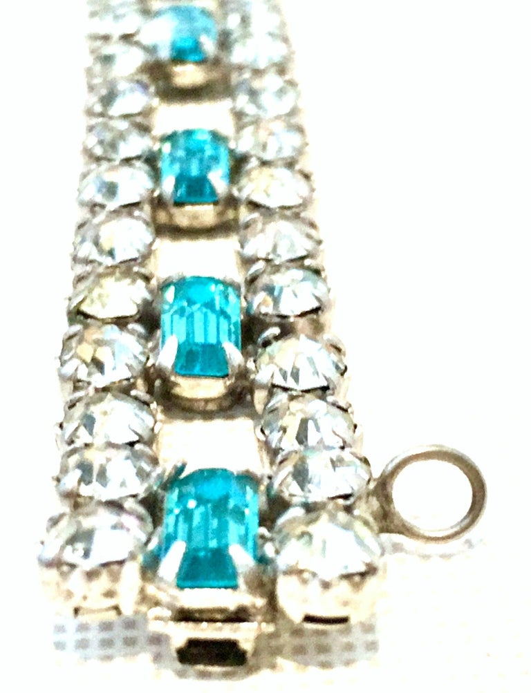 60'S Silver & Blue Sapphire Swarovski Crystal Rhineston Parure S/2 By, J Wiesner For Sale 9