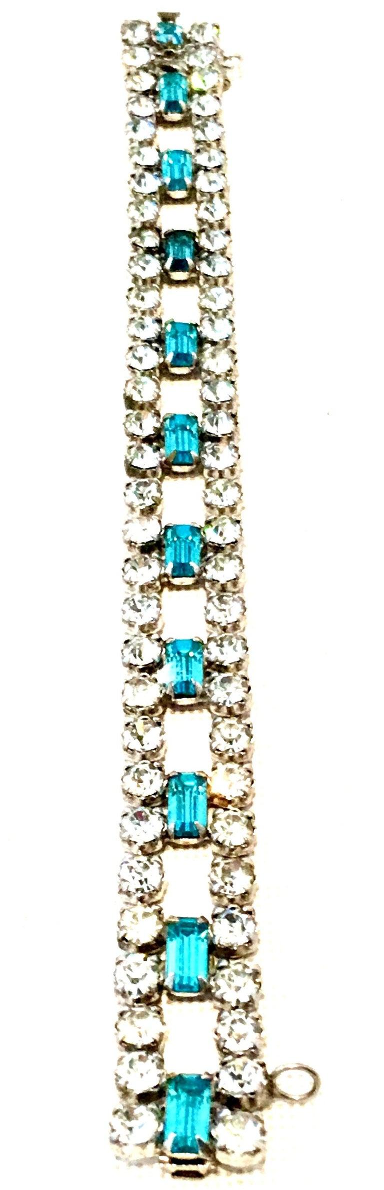 60'S Silver & Blue Sapphire Swarovski Crystal Rhineston Parure S/2 By, J Wiesner For Sale 3