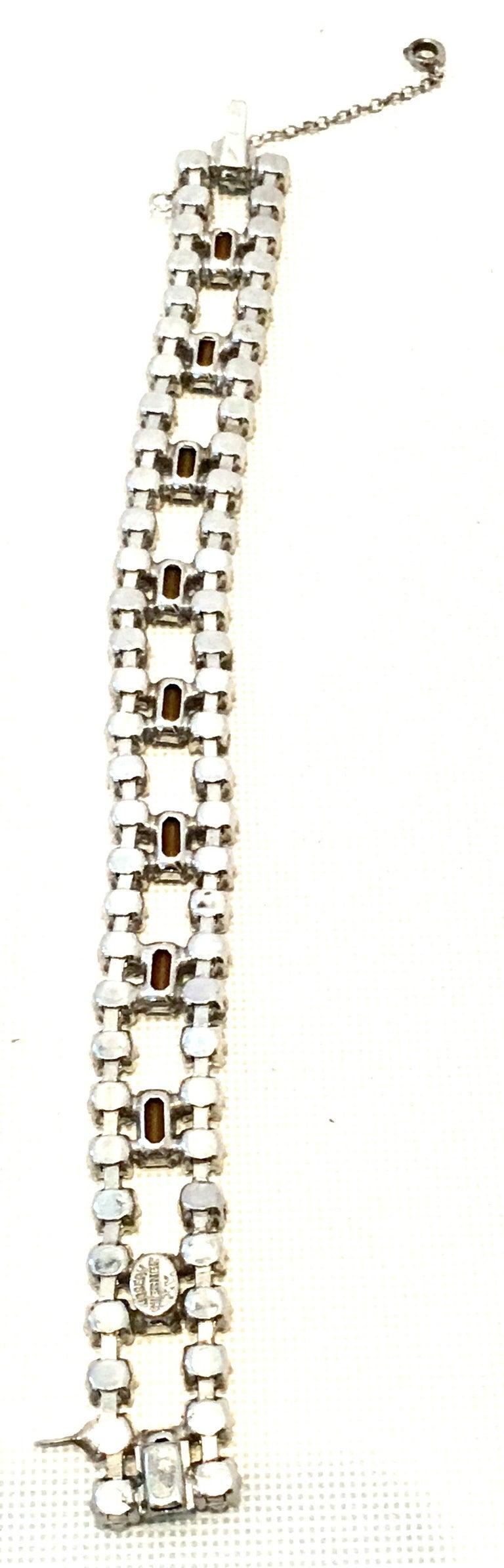60'S Silver & Blue Sapphire Swarovski Crystal Rhineston Parure S/2 By, J Wiesner For Sale 12