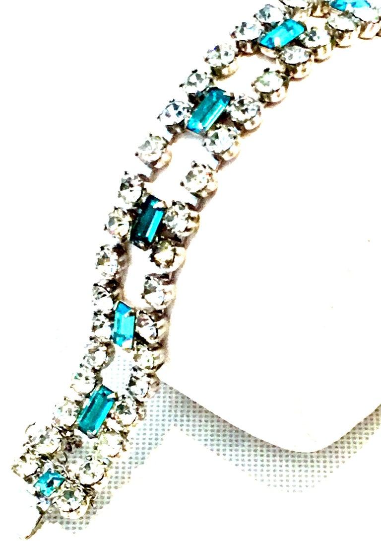 60'S Silver & Blue Sapphire Swarovski Crystal Rhineston Parure S/2 By, J Wiesner For Sale 7