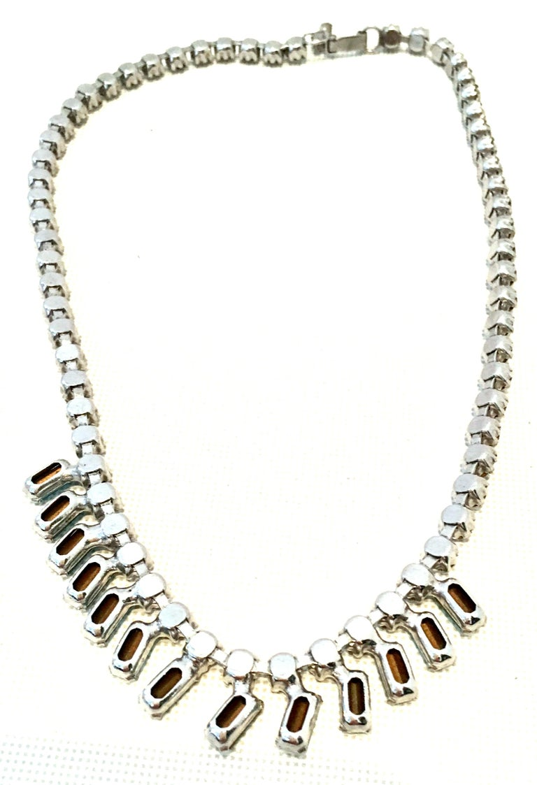 60'S Silver & Blue Sapphire Swarovski Crystal Rhineston Parure S/2 By, J Wiesner For Sale 11