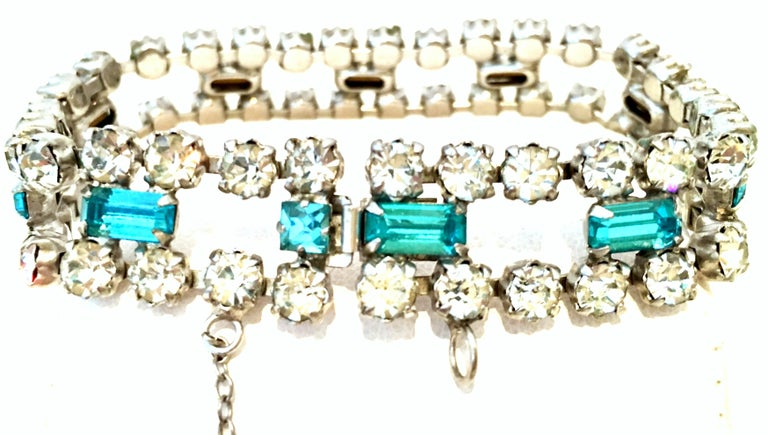 60'S Silver & Blue Sapphire Swarovski Crystal Rhineston Parure S/2 By, J Wiesner For Sale 6