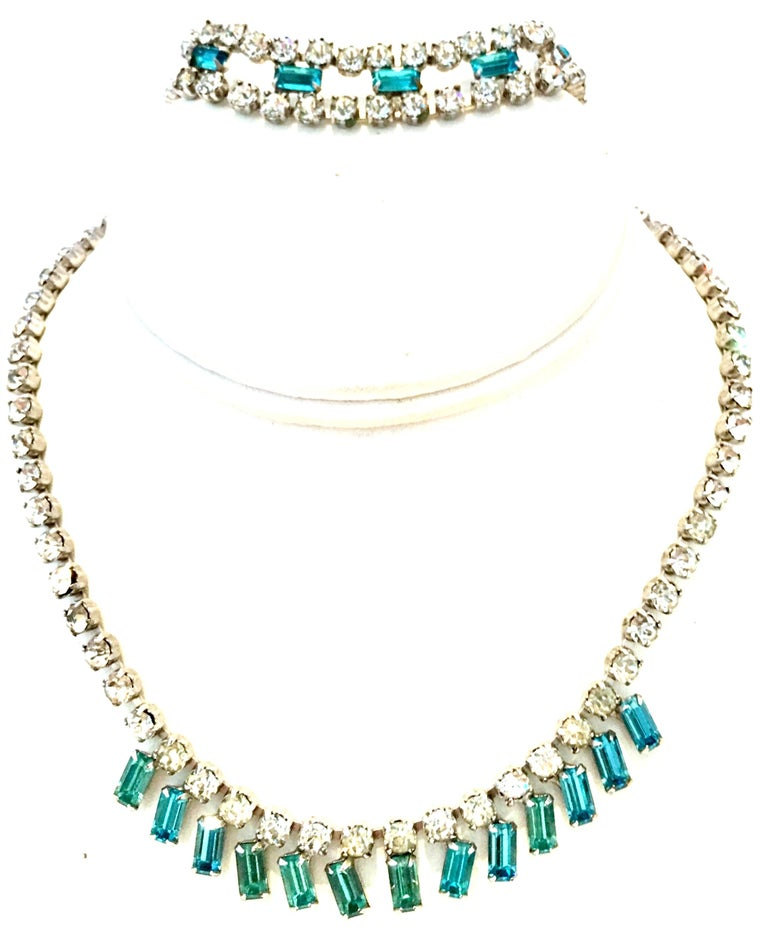 60'S Joseph Wiesner Silver & Swarovski Crystal Rhinestone Choker style necklace and bracelet. This 2 piece set features set silver rhodium plate metal with prong set brilliant cut and faceted colorless and sapphire blue crystal stones. The bracelet