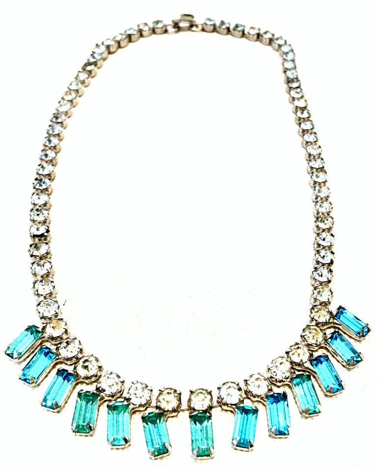 Women's or Men's 60'S Silver & Blue Sapphire Swarovski Crystal Rhineston Parure S/2 By, J Wiesner For Sale