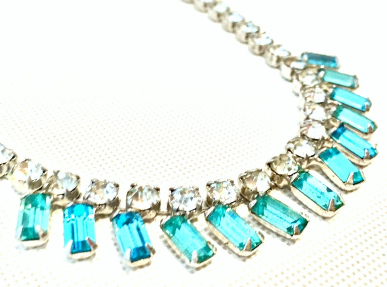 60'S Silver & Blue Sapphire Swarovski Crystal Rhineston Parure S/2 By, J Wiesner For Sale 1