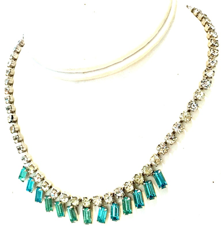 60'S Silver & Blue Sapphire Swarovski Crystal Rhineston Parure S/2 By, J Wiesner In Good Condition For Sale In West Palm Beach, FL
