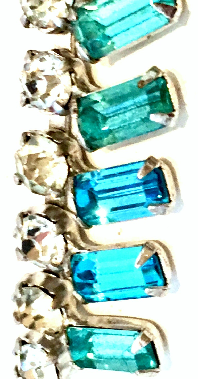 60'S Silver & Blue Sapphire Swarovski Crystal Rhineston Parure S/2 By, J Wiesner For Sale 2