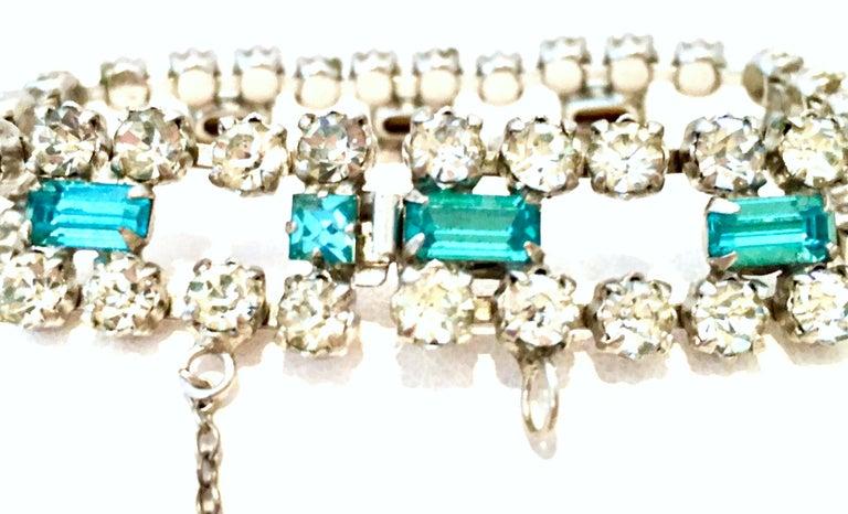 60'S Silver & Blue Sapphire Swarovski Crystal Rhineston Parure S/2 By, J Wiesner For Sale 8