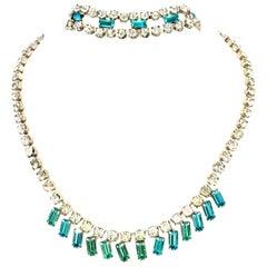 60'S Silver & Blue Sapphire Swarovski Crystal Rhineston Parure S/2 By, J Wiesner