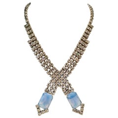 60'S Silver Swaorovski Crystal & Blue Glass Moonstone Choker Necklace