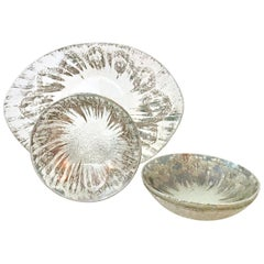 1960s Sterling Silver & Blown Glass Serving Pieces Set of Four by Dorothy Thorpe