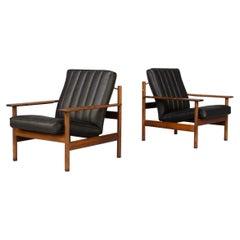 60s Sven Ivar Dysthe Lounge Chair Model 1001 for Dokka Mobler Set/2