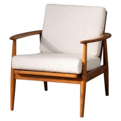 60s Teak Lounge Fauteuil with New Woolen 'Teddy' Fabric
