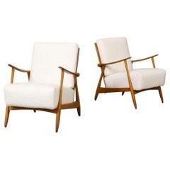 60s Teak Lounge Fauteuils with New Woolen 'Teddy' Fabric Set/2